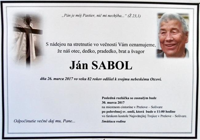 Zomrel pán kostolník Ján Sabol